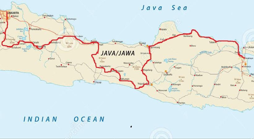 Rute Perjalanan Tarwi Bersepeda Surabaya-Jakarta Gabungan Jalur Utara-Selatan