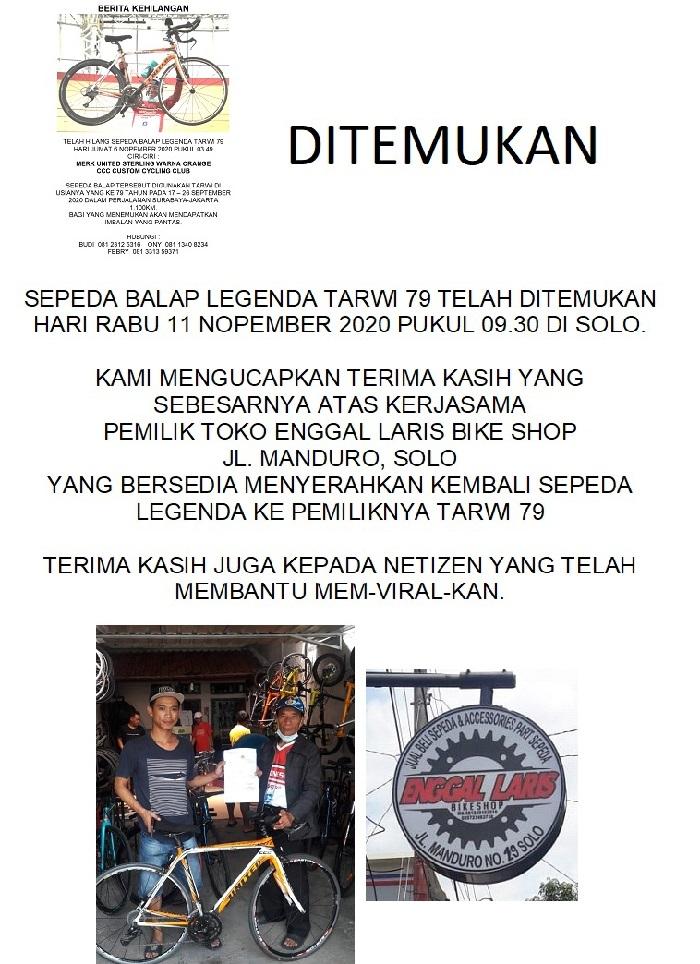 Woro2 sepeda yang hilang telah ditemukan