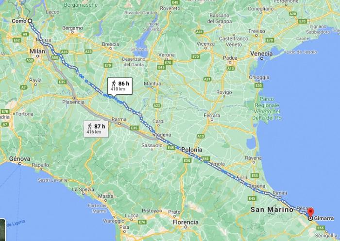 Jarak Como dan Gimarra
