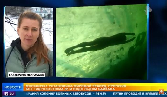 Perenang Rusia Pecahkan Rekor Dunia Berenang Sejauh 85 Meter di Bawah Permukaan Es