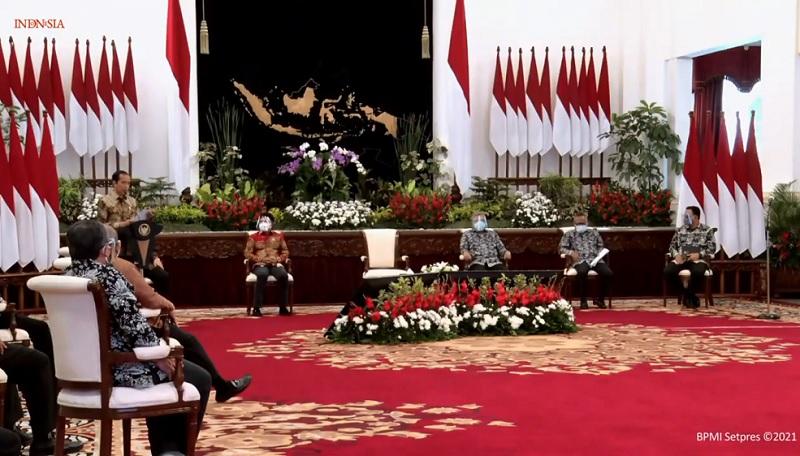 Presiden dan pejabat negara di puncak HPN 2021 di Istana Negara