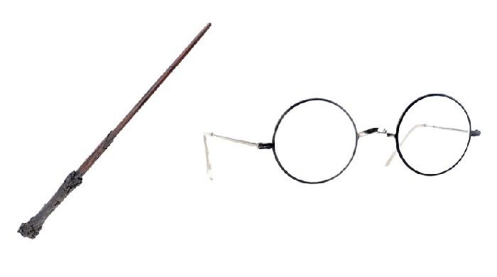 Tongkat sihir dan kacamata Harry Potter