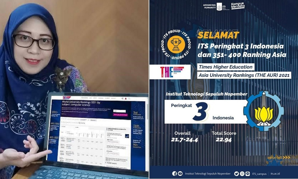 ITS Peringkat Tiga Perguruan Tinggi Terbaik di Indonesia